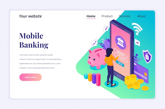 Concetto di attività bancarie online con personaggi, modello di pagina di atterraggio isometrica pagamento elettronico mobile