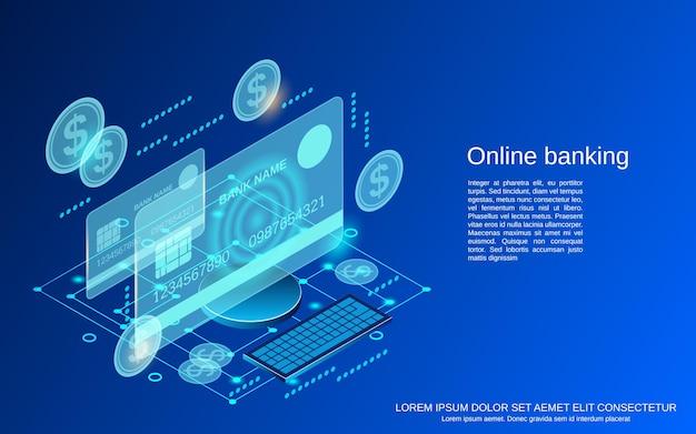 Illustrazione di concetto di vettore isometrico piatto 3d di servizi bancari online