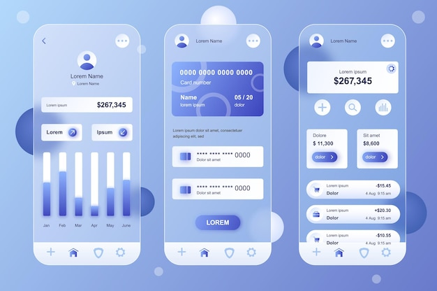 Kit di elementi neumorfici di design glassmorphic di banking online per set di schermate gui ux ui per app mobili