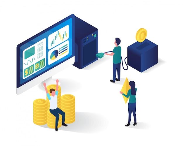 Illustrazione isometrica di servizi bancari online