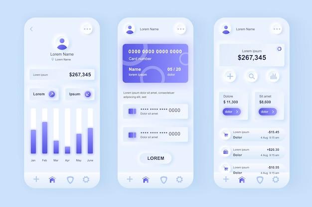 Applicazione mobile dell'interfaccia utente di design neumorfico moderno di banking online
