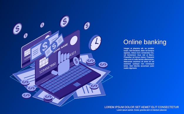 Servizi bancari online, trasferimento di denaro, illustrazione di concetto di vettore isometrico piatto 3d di transazione finanziaria