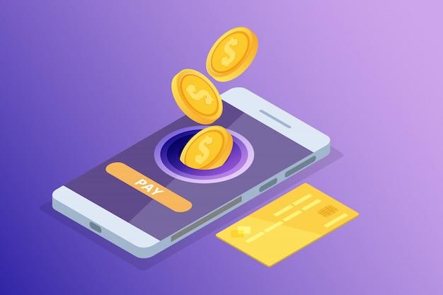 Online banking e shoping, pagamenti mobili, concetto isometrico di trasferimento di denaro. illustrazione.