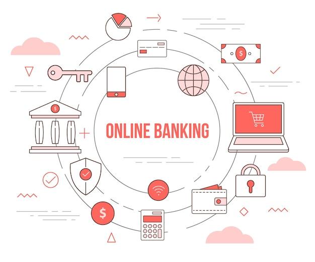 Concetto di tecnologia bancaria in linea con modello di illustrazione set con stile moderno di colore arancione