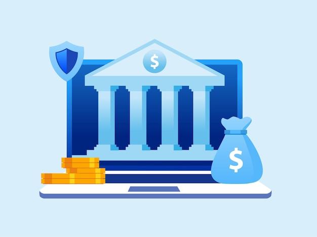Banner piatto dell'illustrazione di vettore di tecnologia di banking online