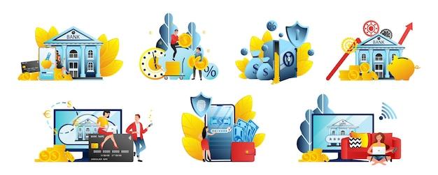 Insieme di illustrazioni dell'interfaccia utente bancaria in linea