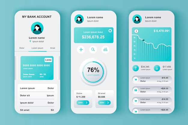 Kit neomorfo unico per l'online banking per app. schermi del portafoglio mobile con analisi finanziaria e saldo monetario. ui di gestione finanziaria, set di modelli ux. gui per un'applicazione mobile reattiva.