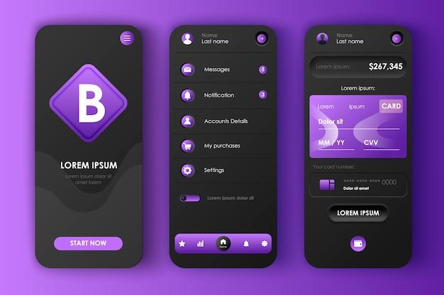 Kit neomorfo unico per l'online banking. app di contabilità finanziaria, bilancio e analisi dei dati, investimenti intelligenti. ui di gestione finanziaria, set di modelli ux. gui per un'applicazione mobile reattiva.