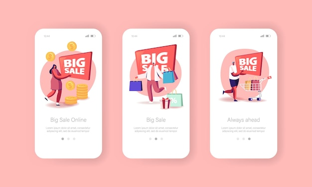 Modello di schermo a bordo della pagina dell'app mobile di grande vendita online
