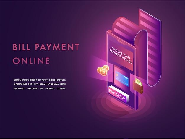 Concetto di pagamento delle bollette online.