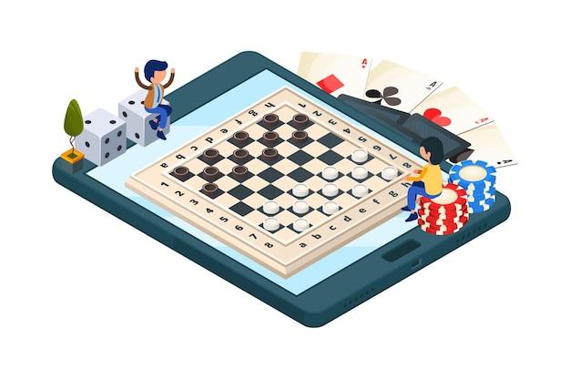 Gioco da tavolo online. telefono isometrico con gioco di dama. personaggi dei giocatori, dadi, carte. campionato di dama di illustrazione in linea