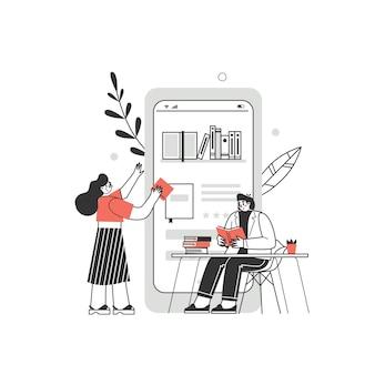 Concetto di biblioteca di libri online. illustrazione grafica vettoriale con personaggi che leggono libri online sullo smartphone.
