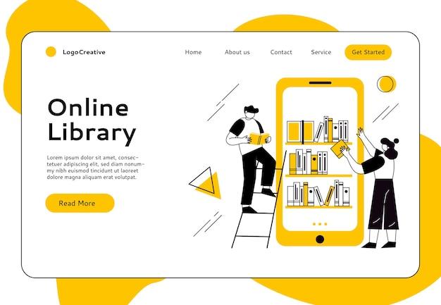 Concetto di biblioteca di libri online