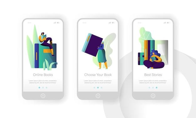 Libreria di libri online set di schermi a bordo per pagine di app mobili per l'istruzione moderna