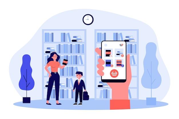 Pagina del negozio di libri online sullo schermo del gadget