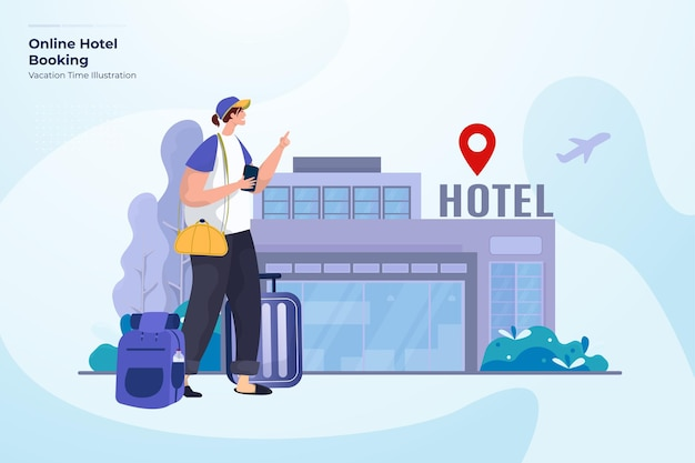 Prenotazione online hotel illustrazione