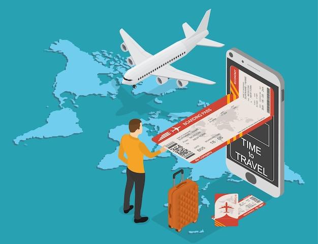 Prenotazione online di biglietti aerei e viaggi. carta d'imbarco elettronica mobile in isometrica. turista che acquista un biglietto. aereo e valigia sullo sfondo della mappa del mondo. illustrazione vettoriale.