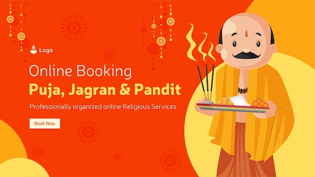 Prenotazione online per puja jagran e modello di progettazione banner pandit