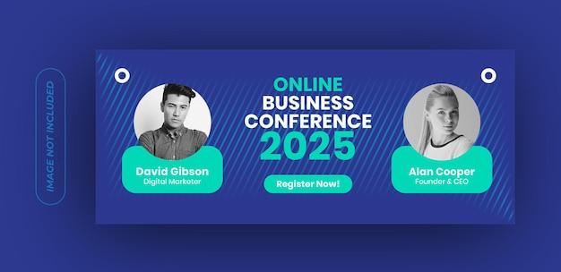 Modello di banner conferenza di lavoro online