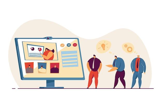 Conferenza di lavoro online tramite chat video. imprenditrice che mostra rapporto ai colleghi. ottimizzazione, illustrazione del lavoro di squadra. business, concetto di tecnologia per banner, design di siti web o pagine web di destinazione