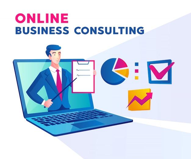 Consulenza aziendale in linea con un uomo e un simbolo di laptop
