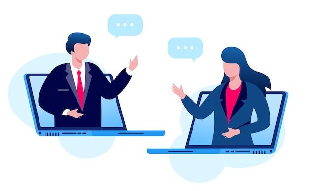 Illustrazione di riunione virtuale di affari in linea