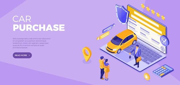 Acquista auto in linea tecnologia a distanza vendita acquisto auto Vettore Premium