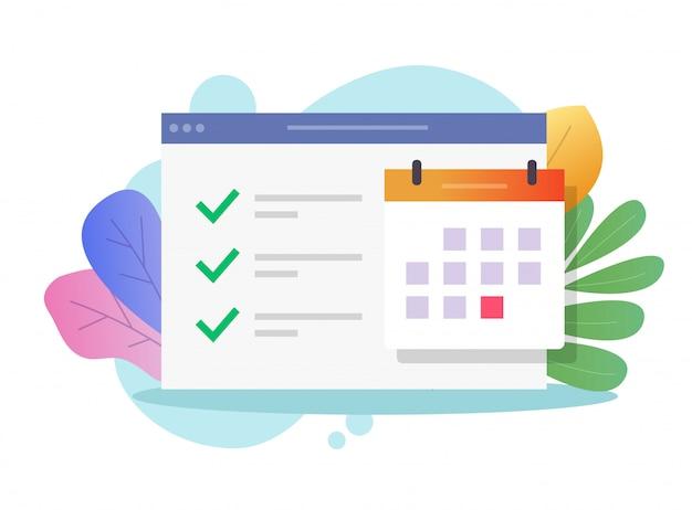Attività web del calendario online e fare l'elenco delle cose importanti fatte
