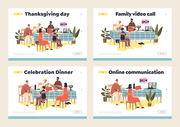 Chiamate online e celebrazione della cena di festa del ringraziamento. set di pagine di destinazione del modello con famiglie felici che mangiano insieme il tacchino festivo. cartoon illustrazione piatta