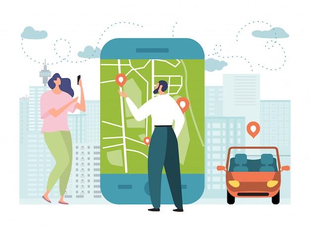 Illustrazione online di app di servizio dell'automobile, la minuscola coppia piana del fumetto ordina il taxi usando lo smartphone, trasporto ordinante mobile