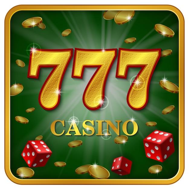 Pubblicità del casinò online 777, due dadi del gioco del casinò, monete d'oro, grande vittoria, eccitazione, premio, piacere,