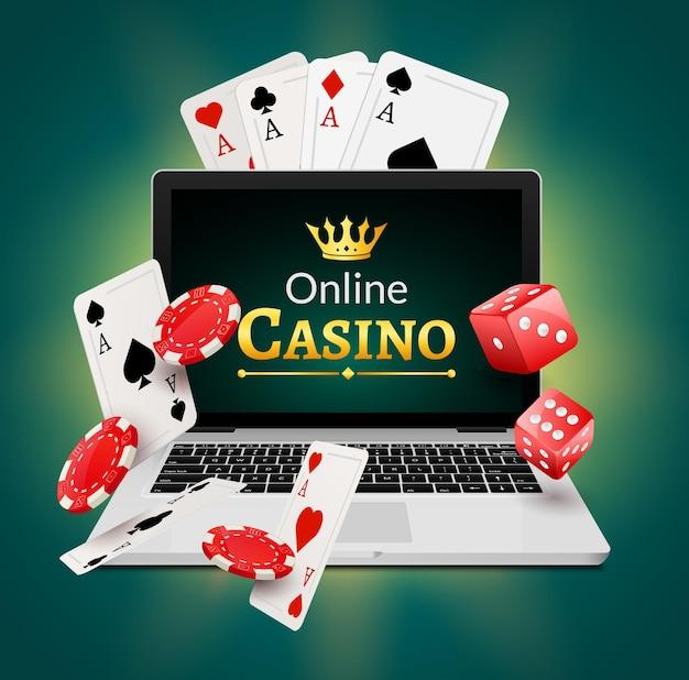 Concetto di banner di casinò online con laptop. progettazione del poker o gioco d'azzardo del casinò della fortuna. illustrazione vettoriale di dadi e patatine.