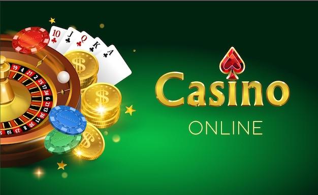 Banner di casinò online con roulette e chip di carte di monete d'oro