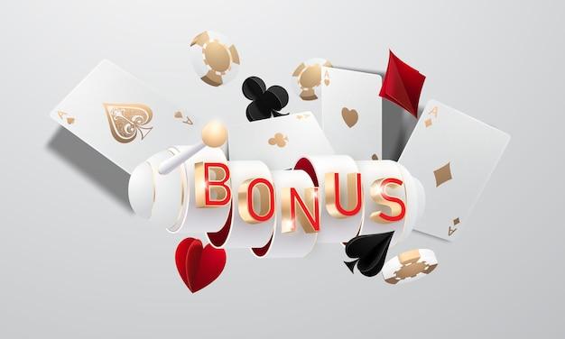 Bonus del casinò online, slot machine, fiches del casinò che volano gettoni realistici per il gioco d'azzardo, contanti per roulette o poker,