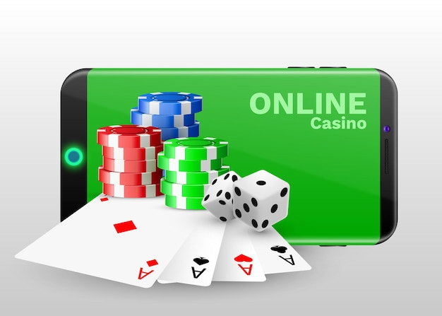 Concetto di casinò online, carte da gioco, chip di dadi e smartphone con copyspace.