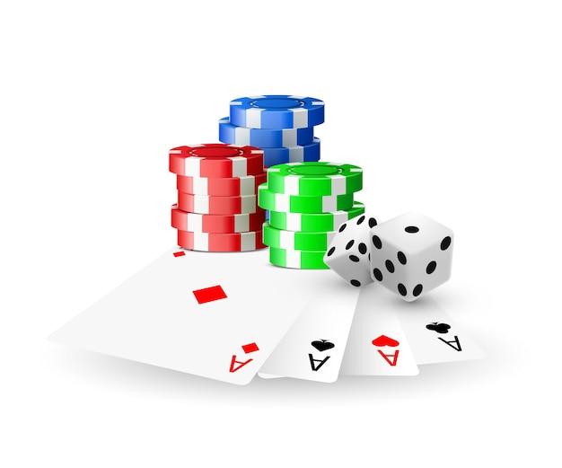 Concetto di casinò online, carte da gioco, chip di dadi.