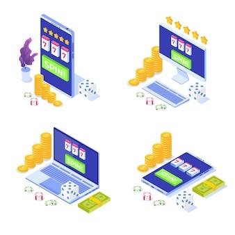 Set di icone di casinò online, gioco d'azzardo online, illustrazione isometrica di app di gioco