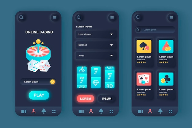 App mobile ui moderna di design neumorfico del casinò online