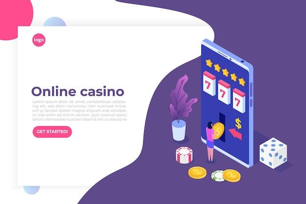 Casinò online, gioco d'azzardo online, illustrazione isometrica di app di gioco