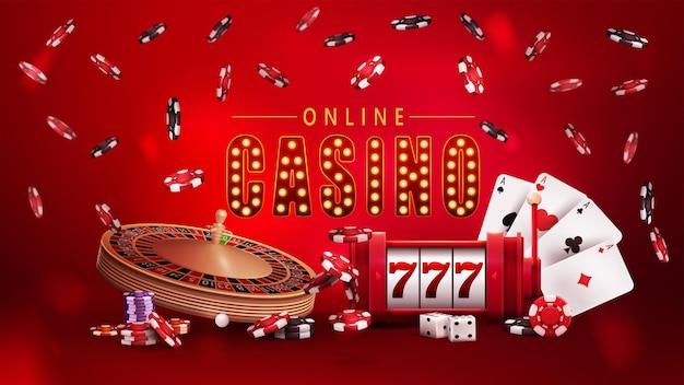 Casinò online, poster rosso con simbolo con lampadine dorate, slot machine, roulette del casinò, fiches da poker e carte da gioco.