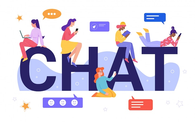 Illustrazione di concetto di chat online. caratteri minuscoli piani della giovane donna del fumetto che chiacchierano, amici di ragazza virtuali felici che leggono, che scrivono i messaggi, amicizia sociale di media a distanza isolata su bianco