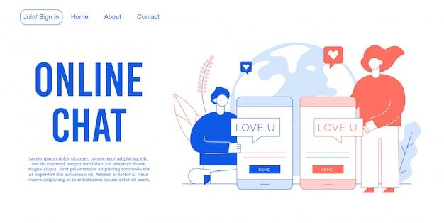 Chat online che collega la landing page di persone amorevoli