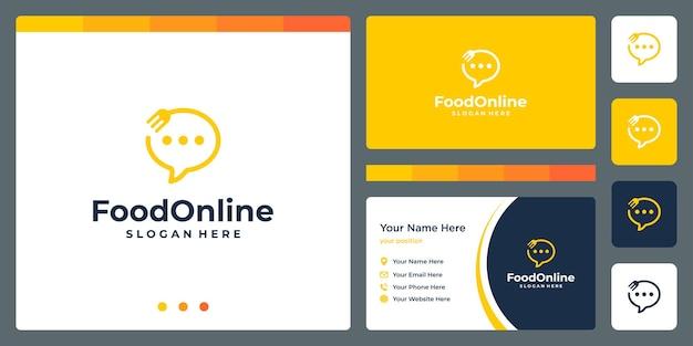 Logo chat online con cucchiaio forchetta e modello di progettazione biglietto da visita. premio vettoriale