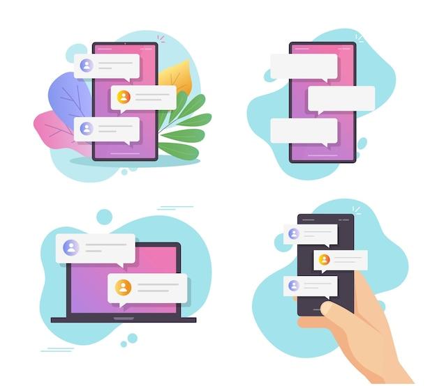 Messaggi di chat online sullo schermo del cellulare in mano e conversazione internet del computer di persona