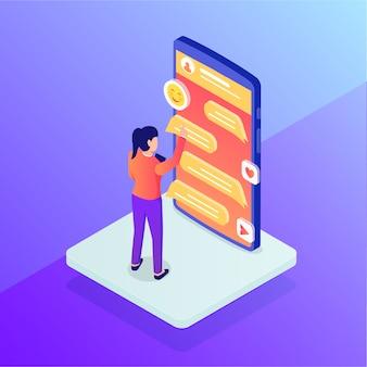 Chat o messaggistica online con smartphone e donna in piedi