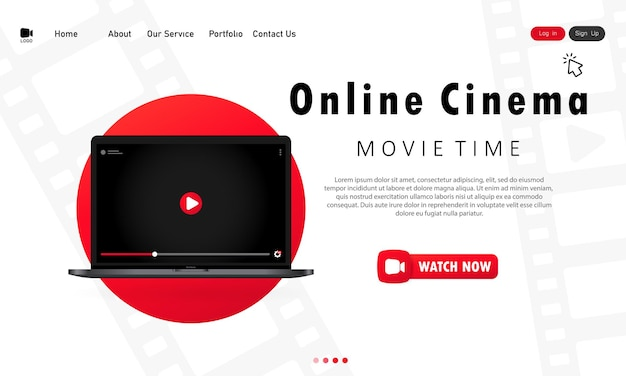 Banner di cinema online o modello di pagina del sito web del cinema