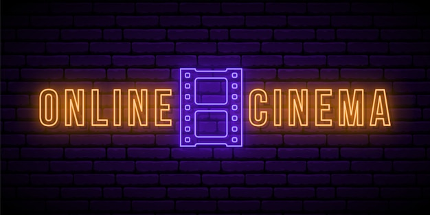 Insegna al neon del cinema online.
