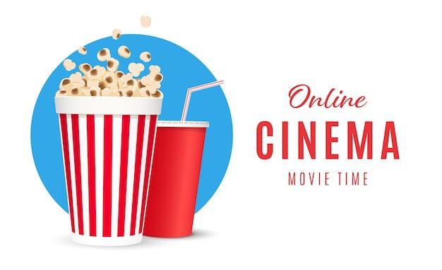 Poster di cinema online o illustrazione vettoriale di poster di film di sfondo