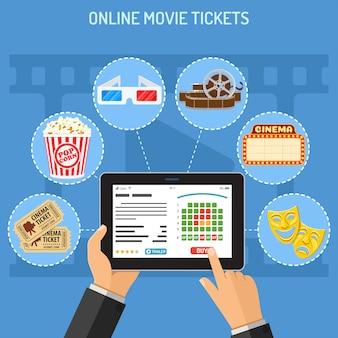 Concetto di ordine del biglietto del cinema online