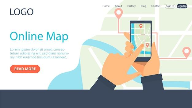 Pagina di destinazione della mappa della città online